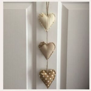 Marvelous Details About Handmade Fabric Set Of Three Shabby Chic Vertical Hanging Hearts Home Interior And Landscaping Ponolsignezvosmurscom