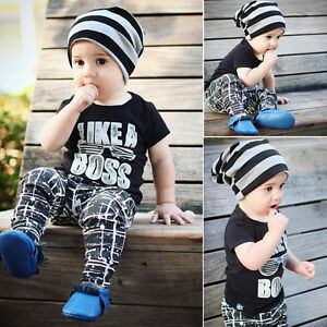 2-Pz-Bambini-Neonato-Bambino-T-Shirt-Top-Pantaloni-Casual-Completi-Vestiti-Set