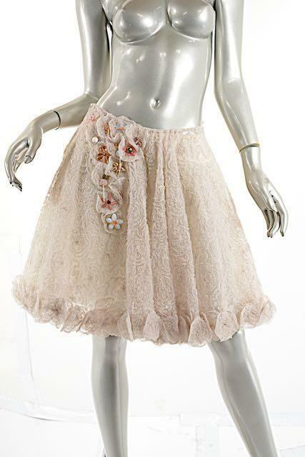 ANAESSIA Stunning Sheer Ivory pinktte Skirt w Bead Appliqué NWT  - Size S