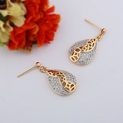 Stunning 18k Gold Filled CREATED WOMAN Swarovski crystal drop vogue  earrings