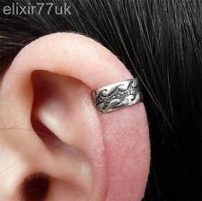 SILVER PLATED ONDA Cartilagine Helix Ear Cuff Clip Wrap Emo Gothic Punk Orecchino