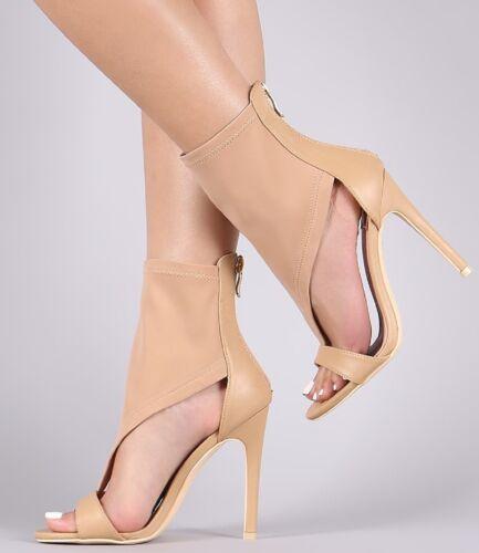 213-20 Ankle High Open Toe Elastic T Strap High Heel Sandal Nude