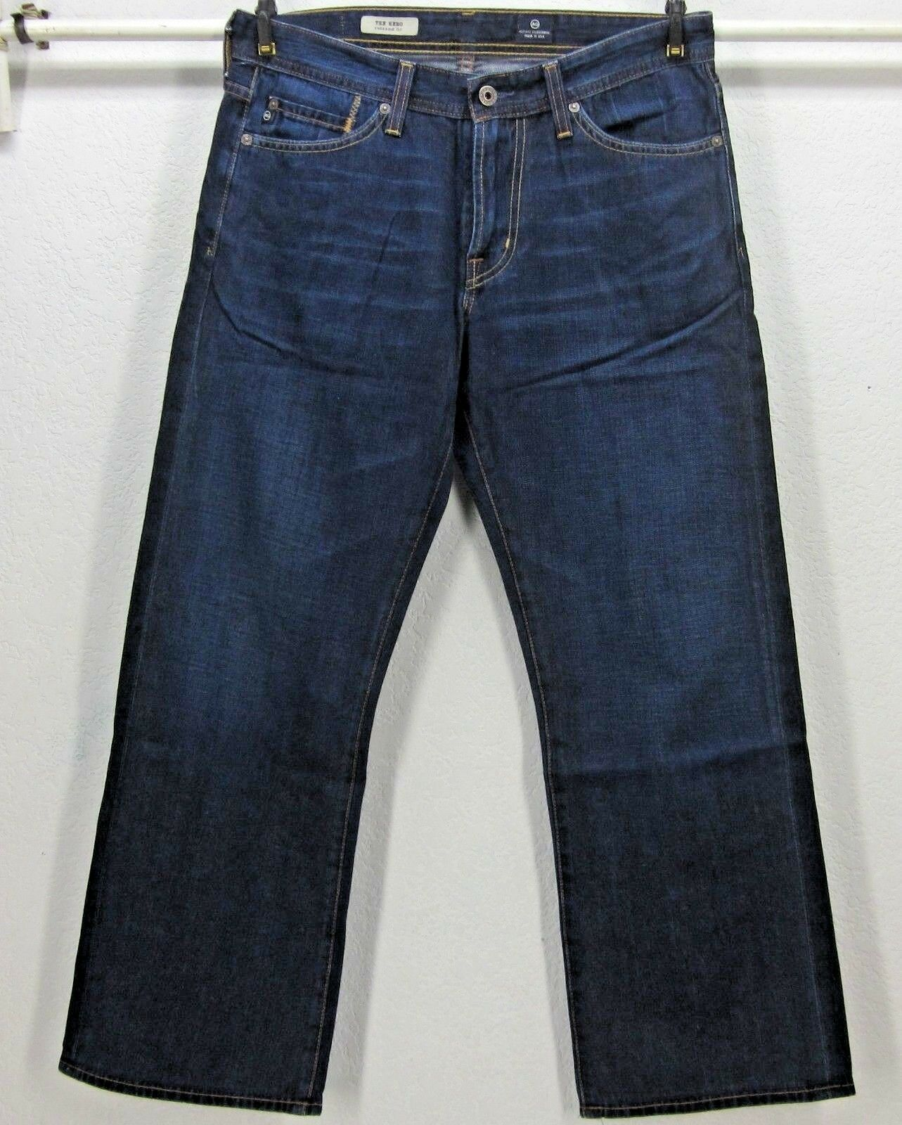 AG ADRIANO goldSCHMIED THE HERO Relaxed Fit Dark bluee Jeans W30 L28 USA STRAIGHT