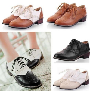 Womens-Low-Heel-Wingtip-Lace-Up-Oxford-Retro-Brogues-Girl-Preppy-Pu-Shoes-N212