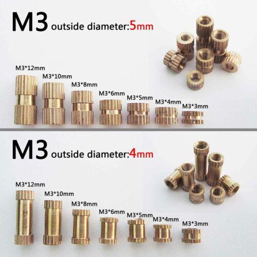 25//100X M3 Brass Copper Metric Threaded Round Knurl Insert Embedded Nut OD 4//5mm