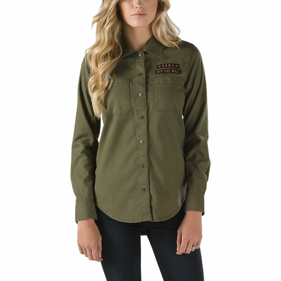 Women's Vans Off the Wall Drop In Dropout Olive Military Button Shirt Gift RARE
