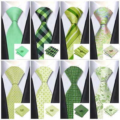 Classic New GREEN Mens tie Jacquard Wove Silk Necktie set Wedding Business F&S