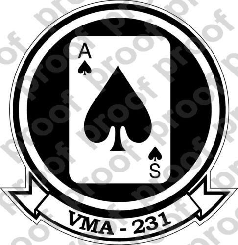 STICKER USMC VMA 231 ACE OF SPADES   ooo   USMC Lisc No 20187