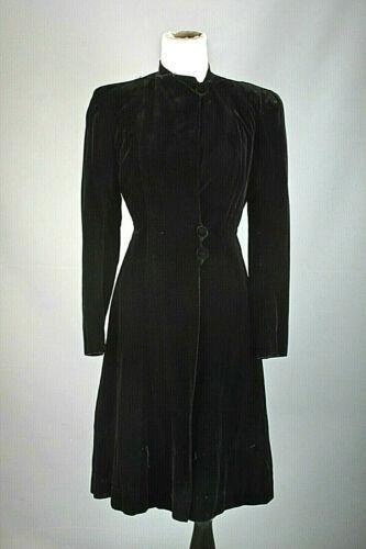 VTG Women's 40s Black Velvet Princess Coat Sz S #3
