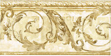 Architectural Acanthus Leaf Scroll Rope Molding Cream Beige Wall paper Border
