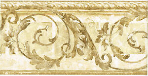 Architectural-Acanthus-Leaf-Scroll-Rope-Molding-Cream-Beige-Wall-paper-Border