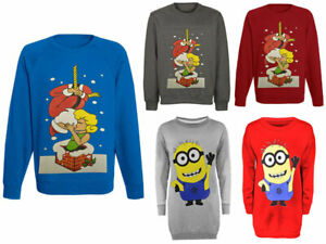 Mens-Xmas-Novelty-Minion-Santa-Kiss-Print-Christmas-Boys-Sweatshirt-Jumper