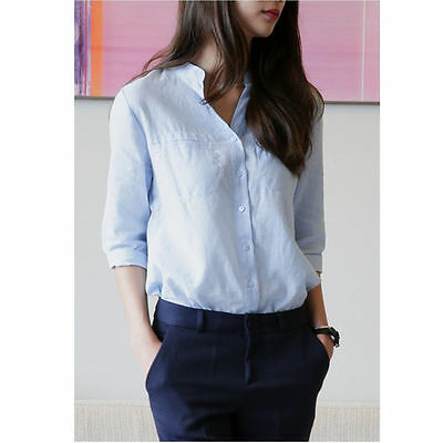 Women/Lady Half Sleeve Linen Cotton Shirt Top Casual Button Down Stand Collar