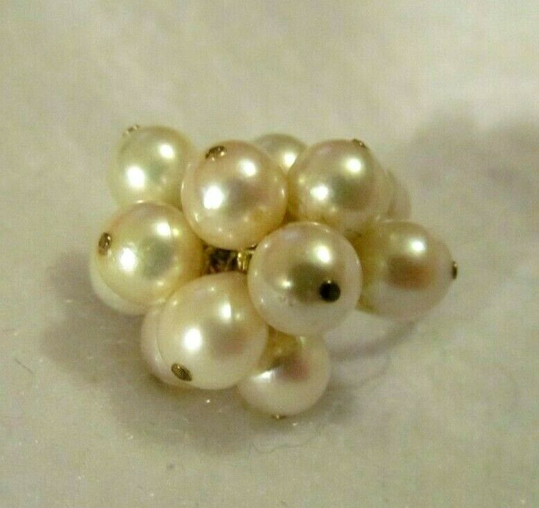 FABULOUS VINTAGE 12K gold FILLED GENUINE PEARL CH CH RING