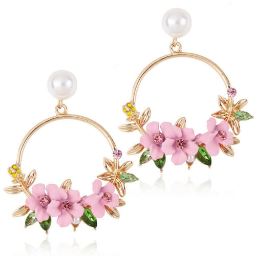 Temperament  Korean Rhinestone Flower Hoop Earrings Hippie Charm Jewelry 8C