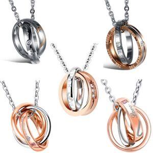 Das Bild wird geladen Edelstahl-Damen-Zirkonia-Ring-Anhaenger-Silber- Rosegold-Kette- 7eb71c629b