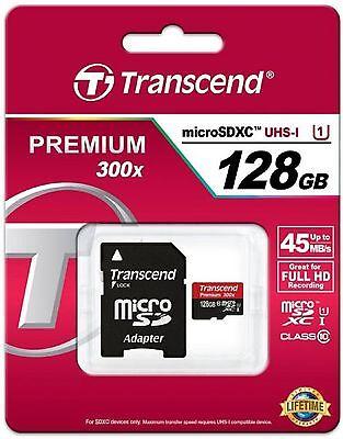 TRANSCEND MICRO SDXC 45MB 128GB UHS-I U1 CLASS 10 300X PREMIUM 128G SD NEW