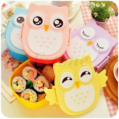 Food Contain Bento Box Owl Plastic Cute Cartoon Lunch Box Oven Heating For Kids