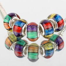 Rainbow 5pcs SILVER MURANO bead LAMPWORK For European Charm leather Bracelet DIY