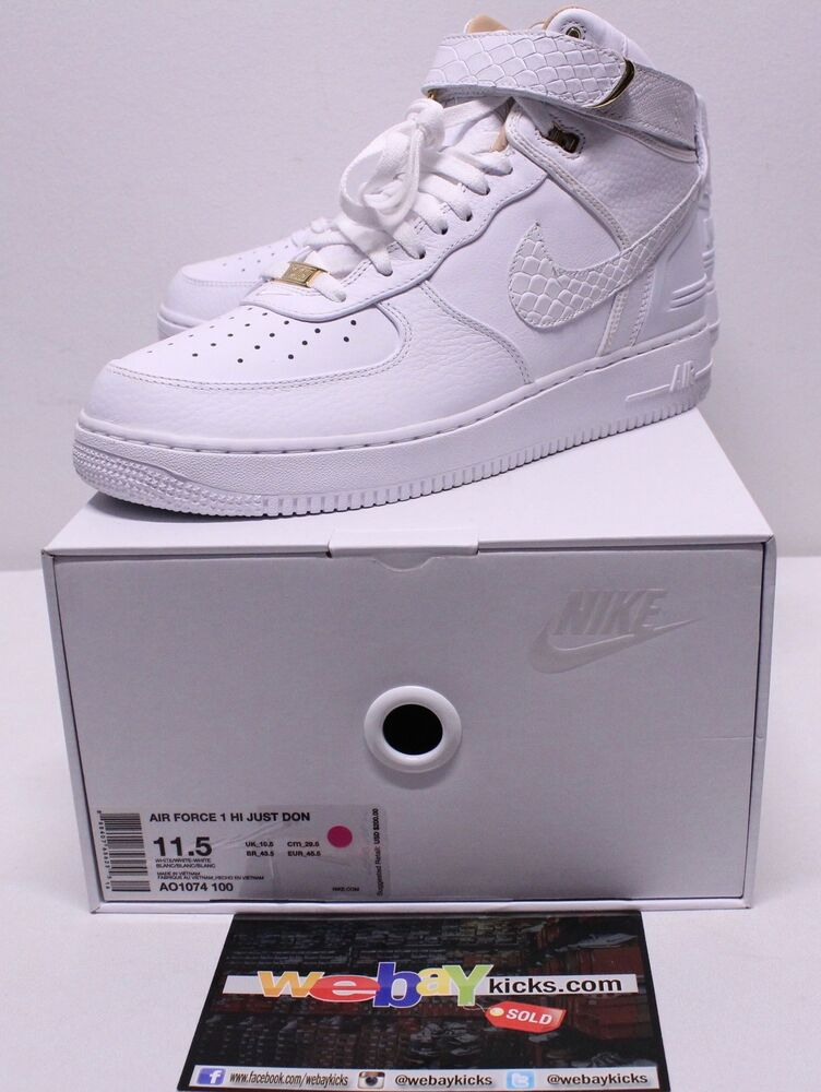 Nike Just Don Air Obliger One AF1 blanc Gold Limited Sneakers homme Taille 11.5 New