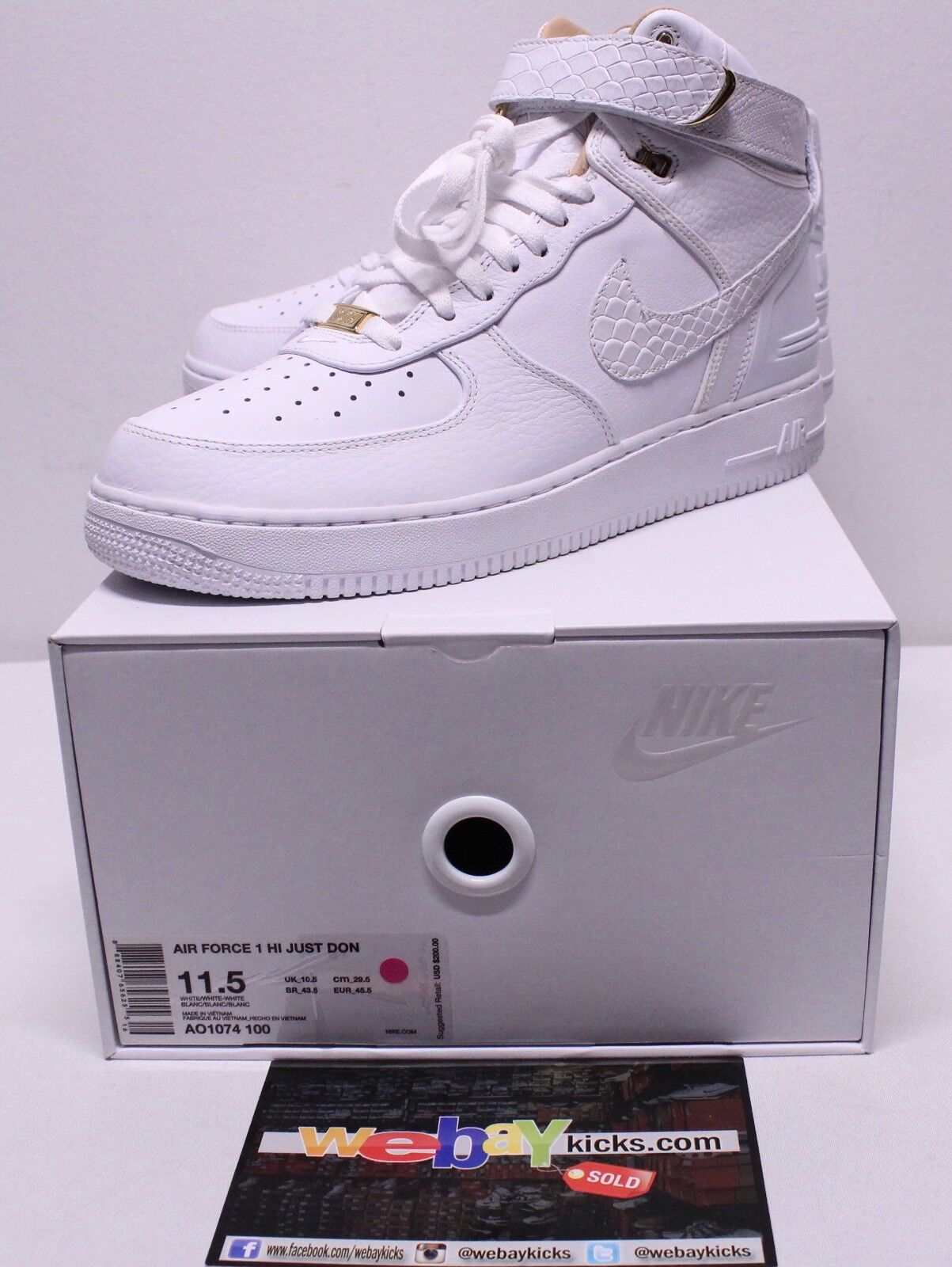 3ffff3533b3 Nike Just Don Air Force One AF1 White gold Limited Sneakers Men's Size 11.5  New