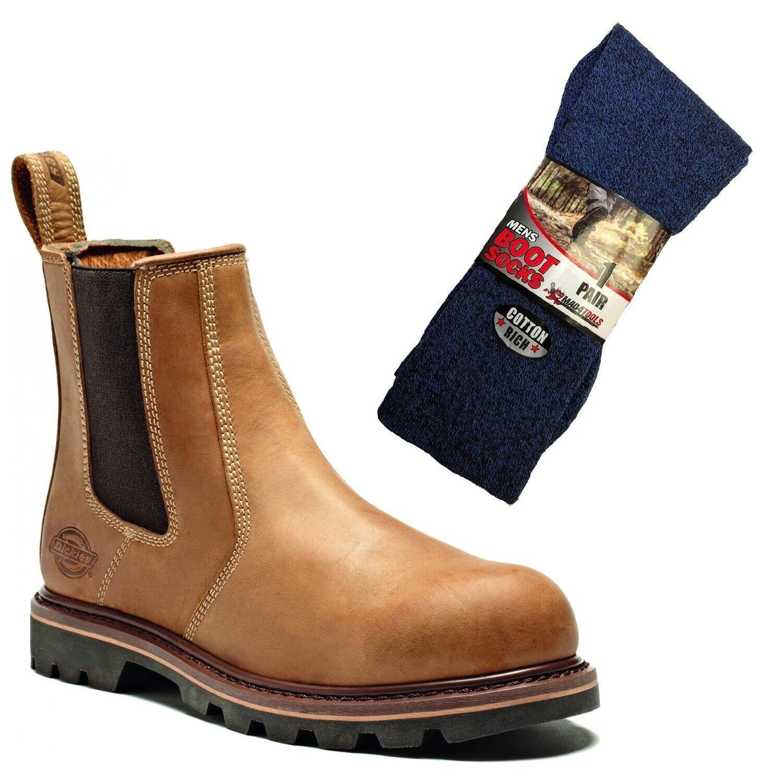 Dickies Fife II Safety Work Dealer Boots Tan & 1 Pair of Boot Socks