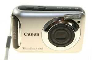 CANON-POWERSHOT-A495-SILVER-DIGITAL-CAMERA-10-0-MEGA-PIXEL-LITTLE-CAMERA-USED