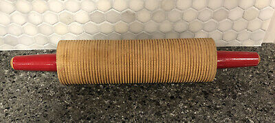 Wooden Red Handle Corrugated Rolling Pin Baking Lefse Flatbread Scandinavian Ebay