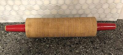 Wooden Red Handle Corrugated Rolling Pin Baking Lefse Flatbread Scandinavian Ebay