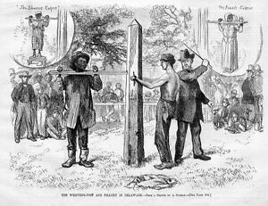 WHIPPING-POST-AND-PILLORY-IN-DELAWARE-NEGRO-FEMALE-CULPRIT-WHIPPED-PUNISHMENT