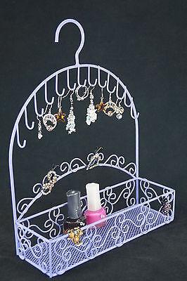 Hook Basket Jewelry Holder Earrings Necklace Ornament Display, Lavender