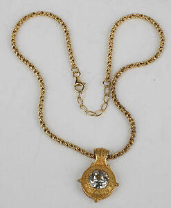Lenox-Sterling-Silver-Gold-Vermeil-Necklace-with-woven-chain-amp-large-Crystal