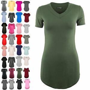 7009e91a Ladies Womens Pullover Plain Short Sleeve Curved Hem Stretchy V Neck ...