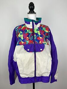 Vintage-1980s-Women-039-s-R-E-Sport-River-Edge-Lined-Windbreaker-Jacket-Size-L