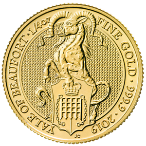 2019-U-K-25-Pound-1-4-oz-Gold-Queen-039-s-Beast-Yale-of-Beaufort-BU