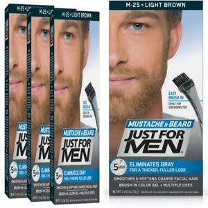 Details about Just For Men Mustache & Beard Color, Coloring Pack of 3,  Light Brown
