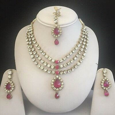 Indian Necklace Jewelry Bollywood Fashion Wedding Gold Tone Earrings Bridal Set