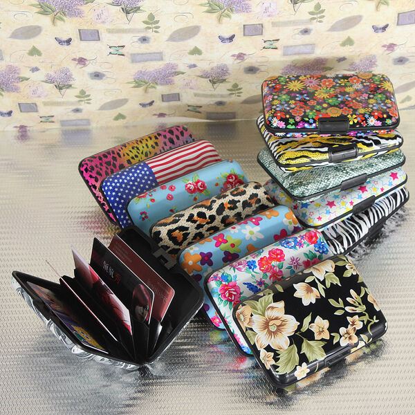 Colorful Flower Pocket Waterproof Business ID Credit Card Wallet Holder Case Box
