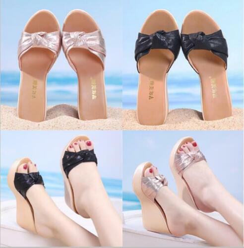 Womens Slip On Bow Sandals Ladies High Heels Platform Wedge Shoes Peep Toe Mules