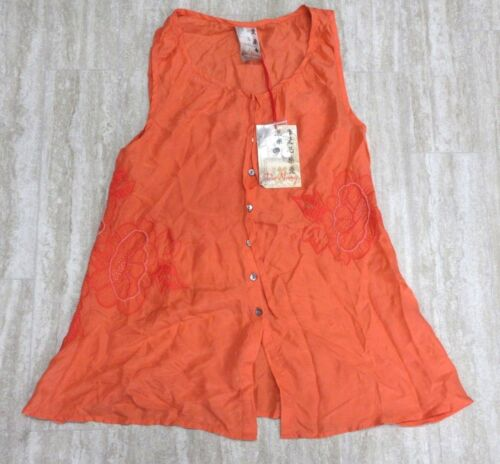 NEW Da-Nang Surplus Embroidered Floral MANDERINERED HAB42801559 Size X-SMALL XS
