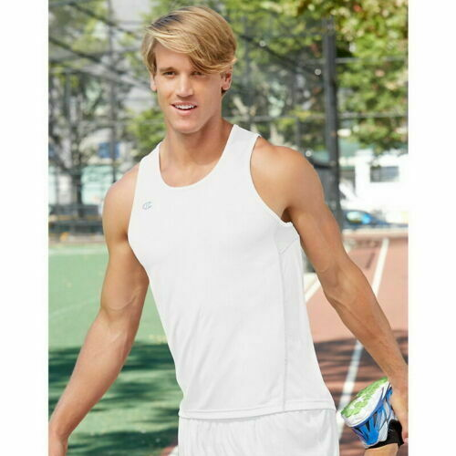 Details about  /Champion White Tank Top Singlet Running Workout Mens Activewear Size Large