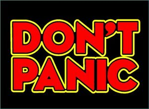 Don't Panic Decal Hitchhikers Guide To The Galaxy car vinyl two color  sticker | eBay