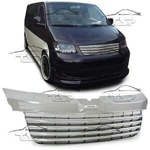 Details about FRONT CHROME GRILL FOR VW BUS T5 TRANSPORTER 03-09 7J 7H  SPOILER BODY KIT
