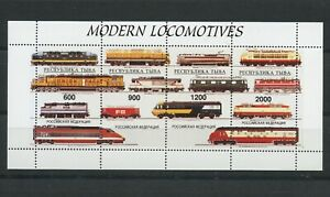 Modern-Locomotives-Trains-Railway-mnh-minisheet-of-4-stamps-Tuva-Republic