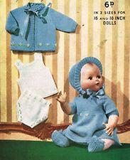 "Dolls clothes knitting pattern.16""&18""doll.  Laminated copy. (V Doll 160)"