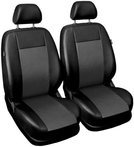 Asiento delantero cubre ajuste de cuero mercedes clase c 1+1 Negro//Gris