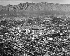 OLD-LARGE-PHOTO-aerial-view-of-Tucson-Arizona-the-city-c1960