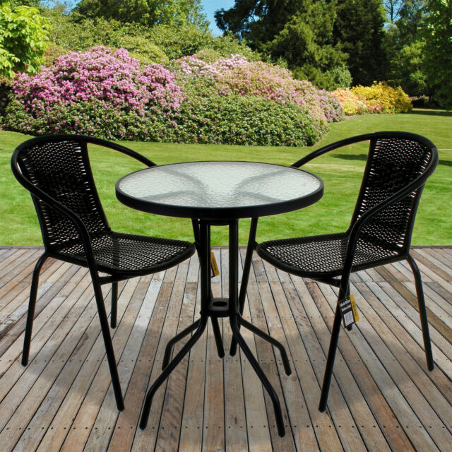 Bistro Set Outdoor Patio Garden Home Furniture Black 5 Piece Table ...