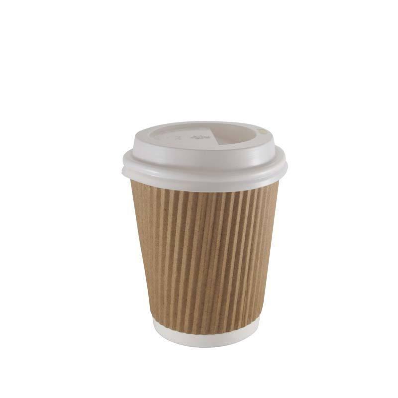 1000 x 12oz braun Paper Coffee Cups Kraft Ripple 3 Ply + Weiß Lids