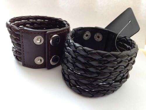 7 Layers Cuff Black//Brown Leather Braided Wristband Bracelet Bangle
